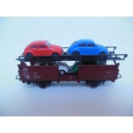 Marklin H0 4613 Auto Transportwagon beladen met 4 VW auto's