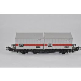 Marklin H0 4664 Containerwagon beladen met 2 containers